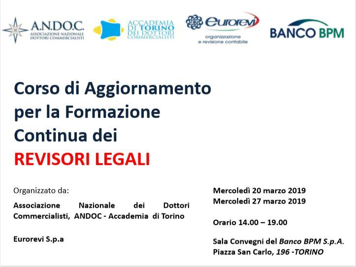 Corso di Aggiornamento per la Formazione Continua dei  REVISORI LEGALI 20 - 27 MARZO 2019